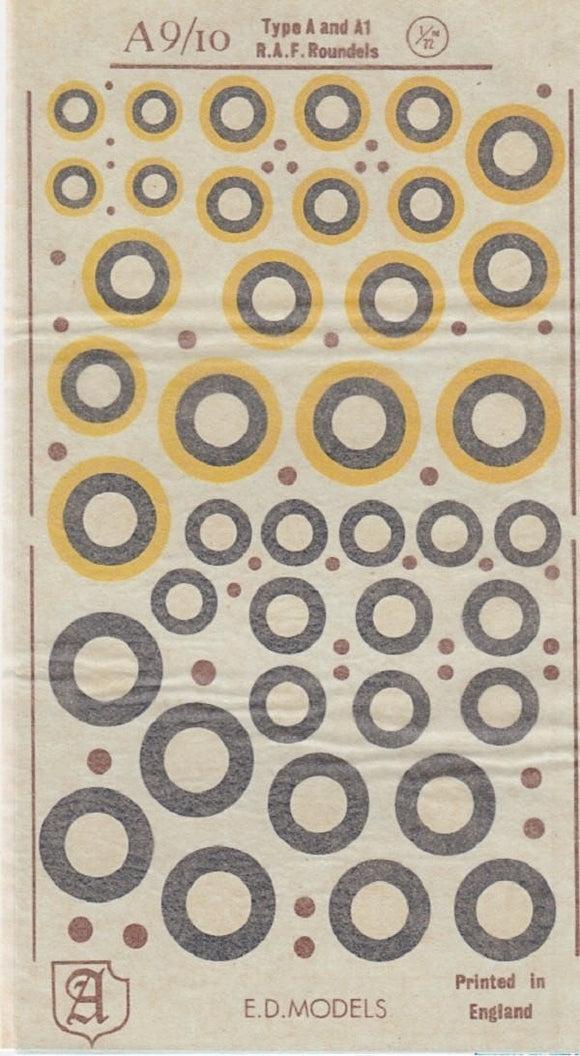 Almark A9/10 1/72 RAF Type A & A1 Roundels Model Decals - SGS Model Store