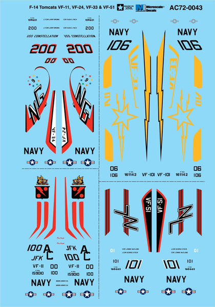 Microscale AC72-0043 1/72 Grumman F-14 Tomcats Model Decals - SGS Model Store