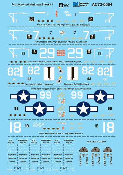 Microscale AC72-0064 1/72 Vought F4U Corsair Model Decals - SGS Model Store