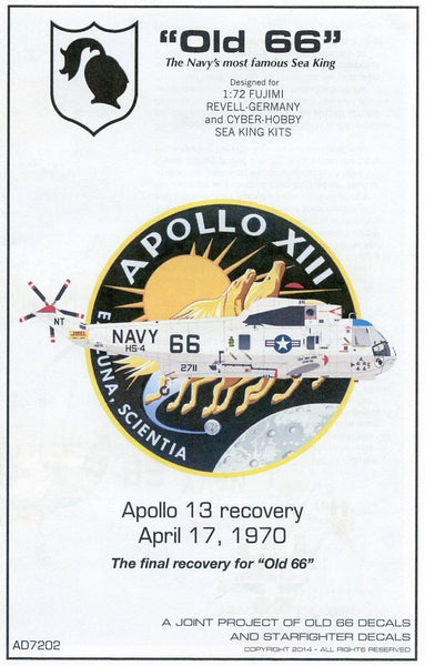 "Old 66 Decals AD7202 1/72 SH-3D 152711 ""Old 66"" Apollo 13 Recovery Model Decals - SGS Model Store"