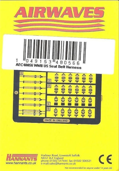 Airwaves AEC48056 1/48 WWII US seat belt harness Detail Set - SGS Model Store
