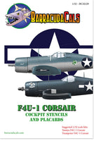 BarracudaStudios BC32129 1/32 F4U-1 Corsair Cockpit Stencils and Placards Decals