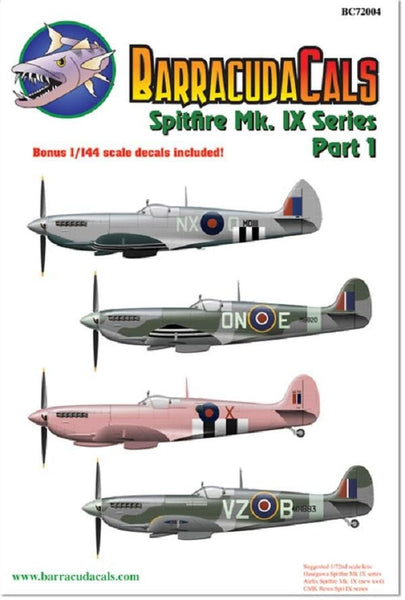 BarracudaStudios BC72004 1/72 Spitfire Mk.IX Series Pt 1 Model Decals - SGS Model Store