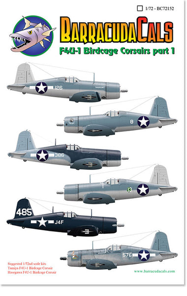 BarracudaStudios BC72152 1/72 F4U-1 Birdgage Corsairs Decals
