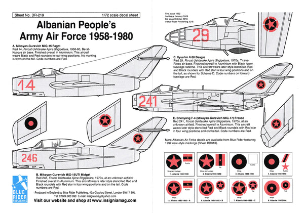 Blue Rider BR219 1/72 Albanian Air Force 1958-1980 Decals