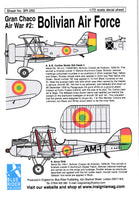 Blue Rider BR255 1/72 Bolivian Air Force Gran Chaco War Part 2 Decals
