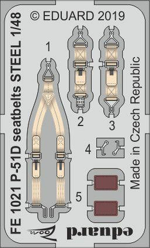 Eduard FE1021 1/48 P-51D Mustang seatbelts STEEL Photo Etched Set for Eduard - SGS Model Store