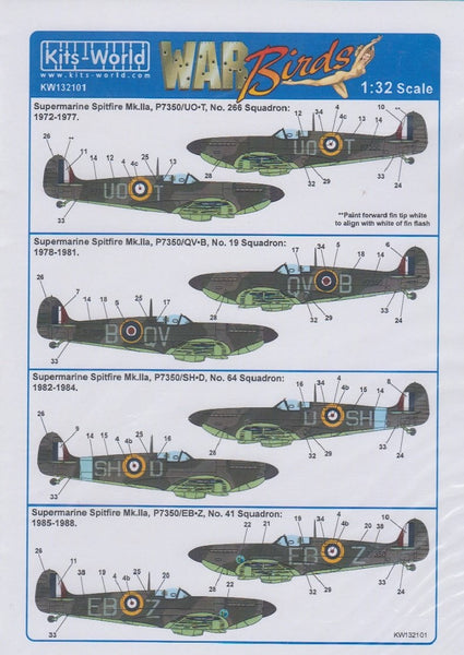 Kits-World KW132101 1/32 Supermarine Spitfire Mk.IIa BBMF Part One Model Decals - SGS Model Store