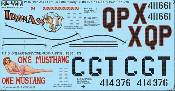 Kits-World KW132129 1/32 North-American P-51D Mustang Model Decals - SGS Model Store
