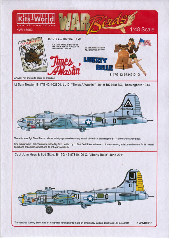 Kits-World KW148053 1/48 B17G Flying Fortress 'Liberty Belle' Model Decals - SGS Model Store