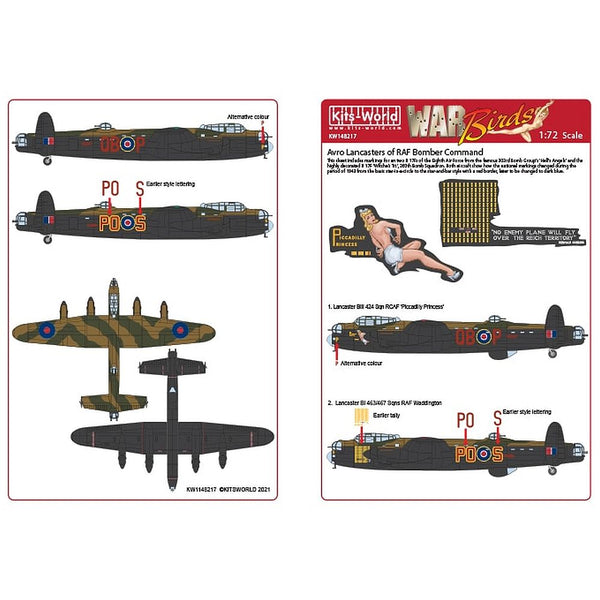 Kits-World KW148217 Avro Lancasters of RAF Bomber Command 1/48