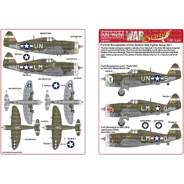 Kits-World KW148224 P-47C/Ds Thunderbolts 56th Fighter Group 1/48