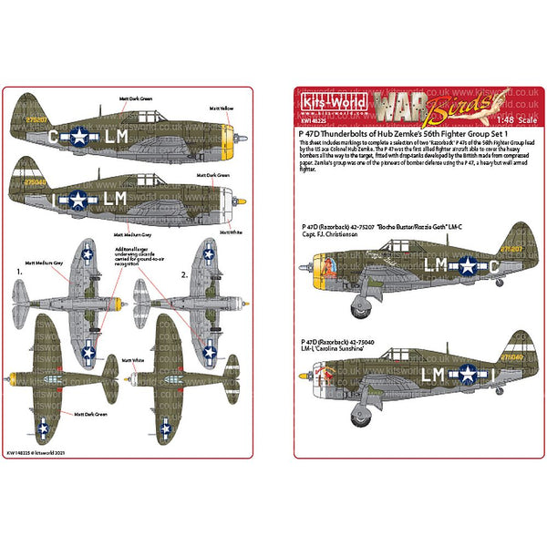 Kits-World KW148225 P-47C/Ds Thunderbolts 56th Fighter Group 1/48