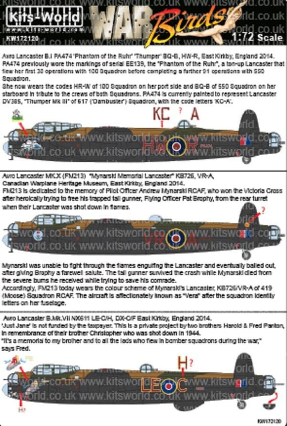Kits-World KW172120 1/72 Avro Lancasters 2014 Meeting Model Decals - SGS Model Store