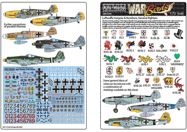 Kits-World KW172181 1/72 Luftwaffe Squadron Fighter Markings