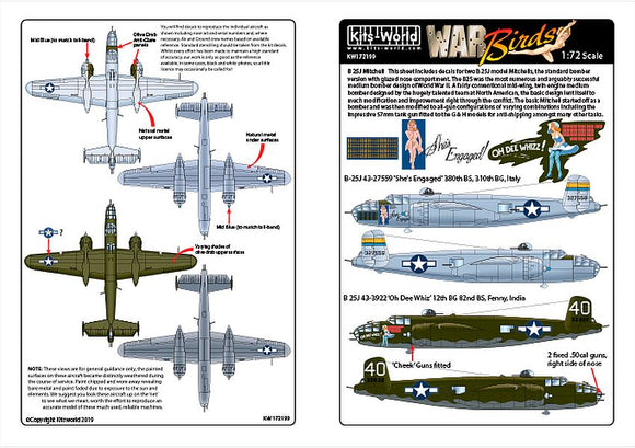 Kits-World KW172199 1/72 North-American B-25J Mitchell Model Decals - SGS Model Store