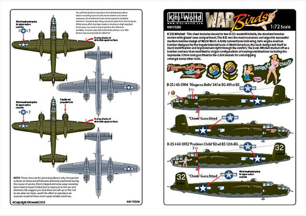Kits-World KW172200 1/72 North-American B-25J Mitchell Model Decals - SGS Model Store