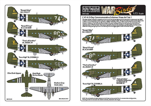 Kits-World KW172205 1/72 Douglas Dakota C-47 D-Day Set 1 Decals - SGS Model Store