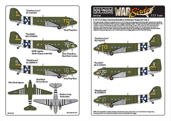 Kits-World KW172206 1/72 Douglas Dakota C-47 D-Day Set 2 Decals - SGS Model Store