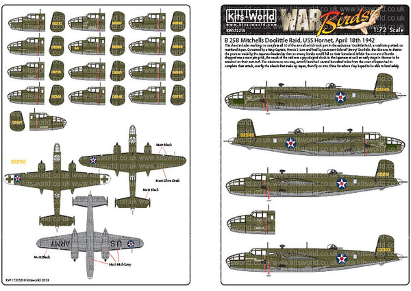 Kits-World KW172215 1/72 B-25B Mitchells Doolittle Raid