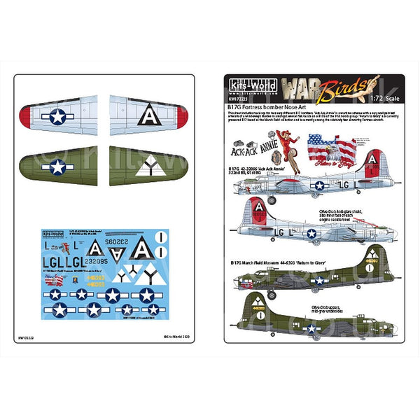 Kits-World KW172223 1/72 Boeing B-17G Flying Fortress Nose Art