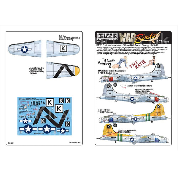 Kits-World KW172231 1/72 Boeing B-17G Flying Fortress 447th BG