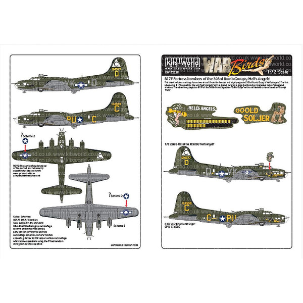 Kits-World KW172238 B-17F Bombers 303rd Bomb Group 'Hell's Angels' 1/72
