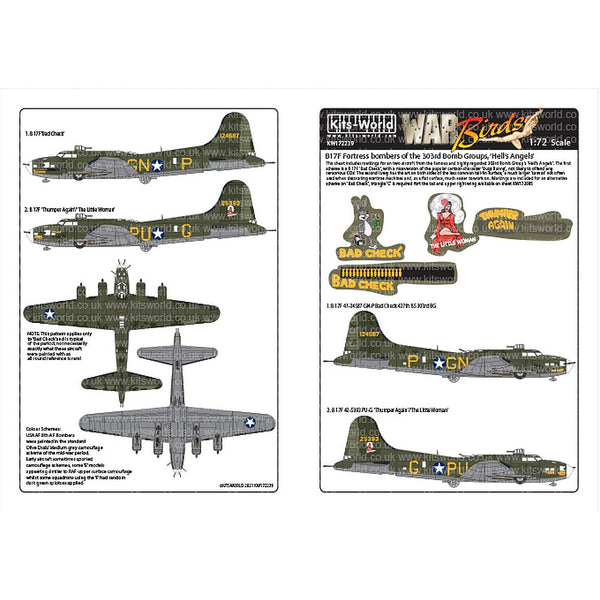 Kits-World KW172239 B-17F Bombers 303rd Bomb Group 'Hell's Angels' 1/72