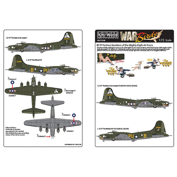 Kits-World KW172240 B-17F Bombers of the Mighty Eighth Air Force 1/72