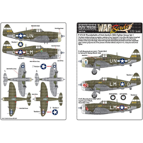 Kits-World KW172245 P-47C/Ds Thunderbolts 56th Fighter Group 1/72