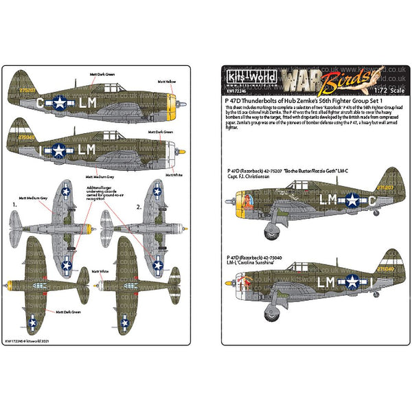 Kits-World KW172246 P-47C/Ds Thunderbolts 56th Fighter Group 1/72