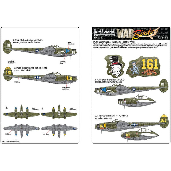 Kits-World KW172248 P-38H Lightnings of the Pacific Theatre WWII 1/72