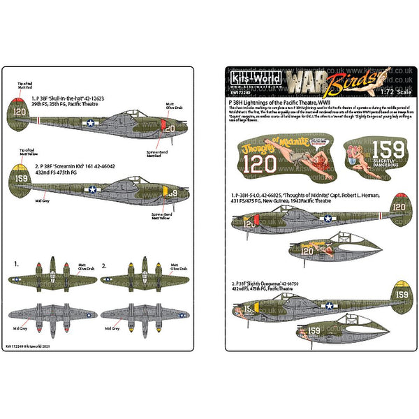 Kits-World KW172249 P-38H Lightnings of the Pacific Theatre WWII 1/72