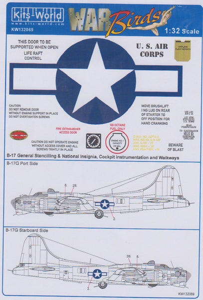 Kits-World KW132069 1/32 Boeing B-17F/B-17G Flying Fortress Model Decals - SGS Model Store