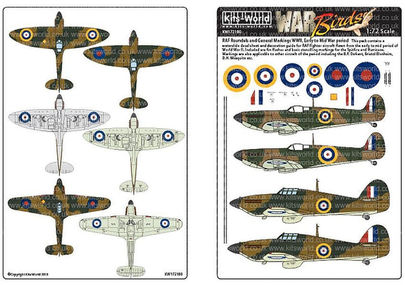 Kits-World KW172180 1/72 RAF Roundels and General Markings WWII Model Decals - SGS Model Store