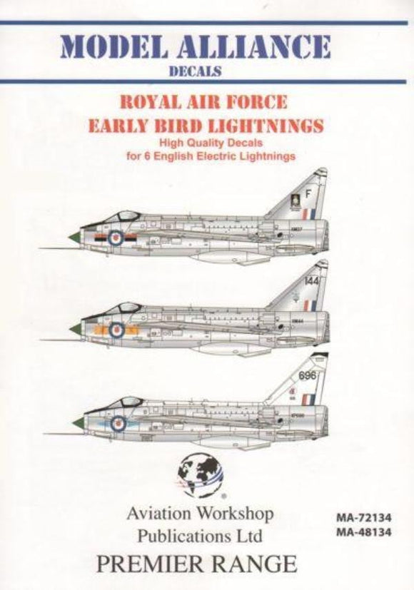 Model Alliance MA-48134 1/48 RAF Early Bird Lightnings Model Decals - SGS Model Store