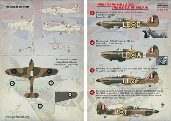 Print Scale 32-013 1/32 Hawker Hurricane Mk.I Aces. The Battle of Britain Model Decals - SGS Model Store