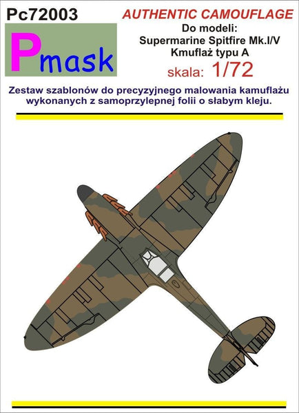 Pmask PC72003 1/72 Spitfire Mk.I/Mk.V Type A Camouflage Pattern Paint Mask - SGS Model Store