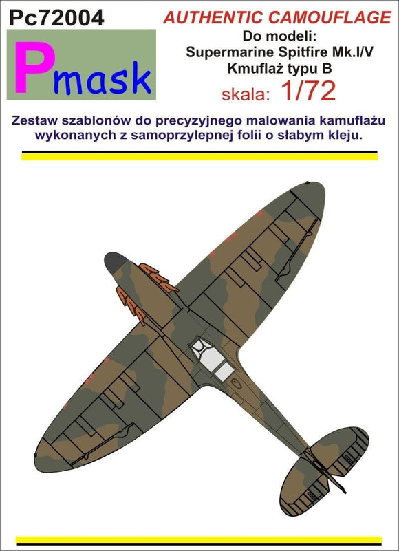 Pmask PC72004 1/72 Spitfire Mk.I/Mk.V Type B Camouflage Pattern Paint Mask - SGS Model Store