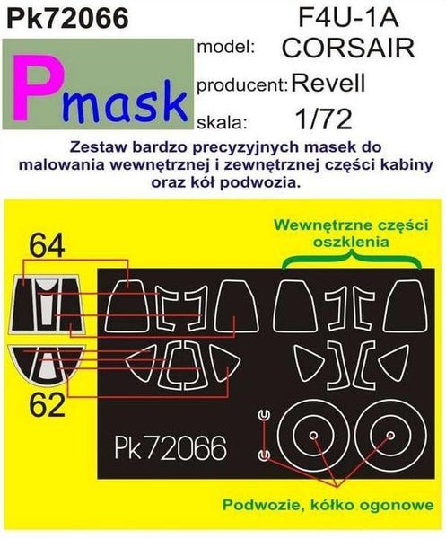 Pmask PK72066 1/72 Vought F4U-1A Corsair Paint Mask - SGS Model Store