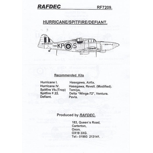 RAFDec RF7209 RAF Fighters 1/72 Decals