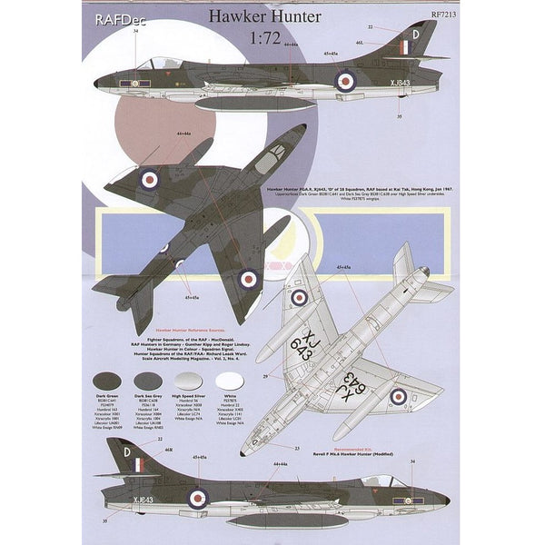 RAFDec RF7213 Hawker Hunters 1/72 Decals