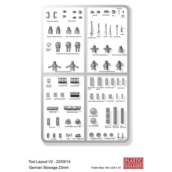 Plastic Soldier Company 1/72 German Tank Commanders and Stowage Sprue