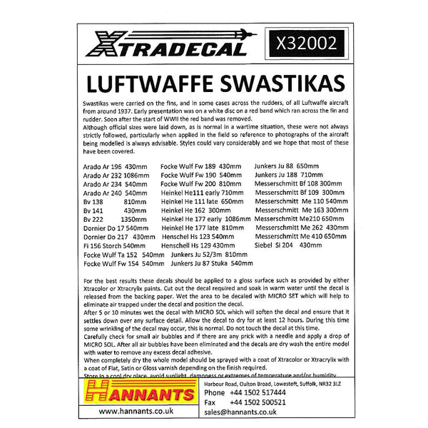 Xtradecal X32002 1/32 Luftwaffe Swastikas Model Decals - SGS Model Store