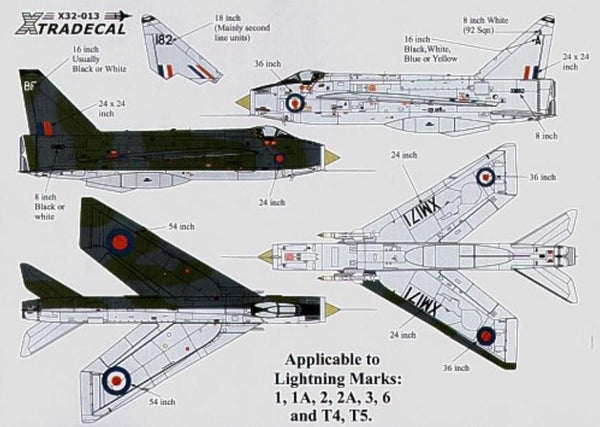 Xtradecal X32013 1/32 BAC/EE Lightning Customising Model Decals - SGS Model Store