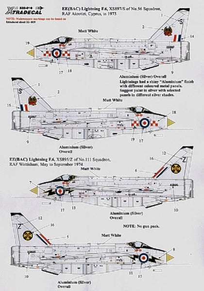 Xtradecal X32016 1/32 BAC/EE Lightning F Mk.6 Pt 1 Model Decals - SGS Model Store