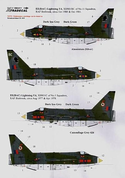 Xtradecal X32017 1/32 BAC/EE Lightning F Mk.6 Pt 2 Model Decals - SGS Model Store