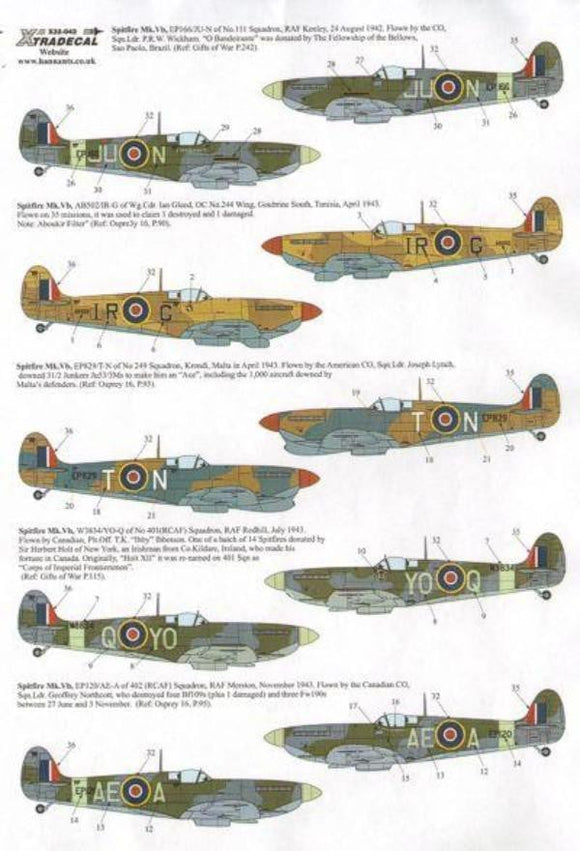 Xtradecal X32042 1/32 Supermarine Spitfire Mk.Vb late Model Decals - SGS Model Store