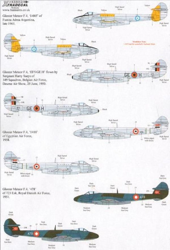 Xtradecal X32052 1/32 Gloster Meteor F.4 with Overseas Operators Model Decals - SGS Model Store