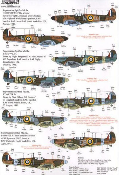 Xtradecal X32054 1/32 Supermarine Spitfire Mk.I/Mk.IIa Pt 2 Model Decals - SGS Model Store